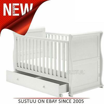 East Coast Nursery Alaska Sleigh Cot Bed Drawer+Protective Teething Rails White