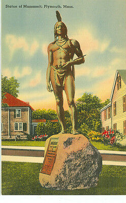 Plymouth,Massachusetts-Statue Of Massasoit-Linen-#67279(Mass-P2)