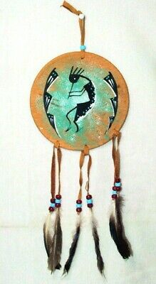 "6"" Painted Leather Shield Authentic Native American Art Kokopelli & Flute #01"