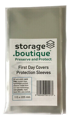storage.boutique FIRST DAY COVER (FDC) ACID FREE Protection Sleeves 50 TWO SIZES