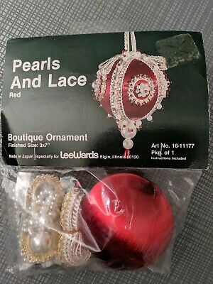 Lee Wards Boutique Red Satin Ball Pearls & Lace Ornament Kit Christmas