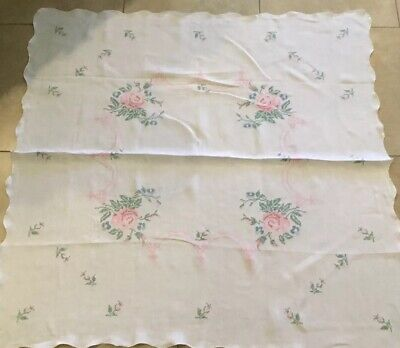 Vintage Tablecloth, Linen, Flower Cross Stitch Embroidery, Leaves, Scrolls