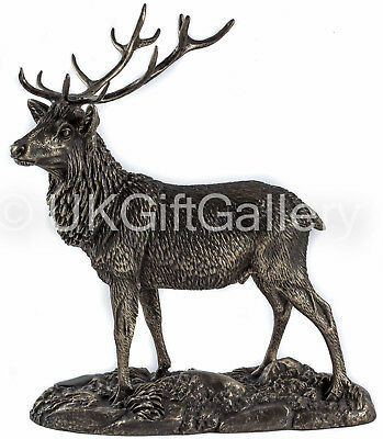 THE STAG Cold Cast Bronze Deer Sculpture by Tom Mackie for Genesis Fine Arts