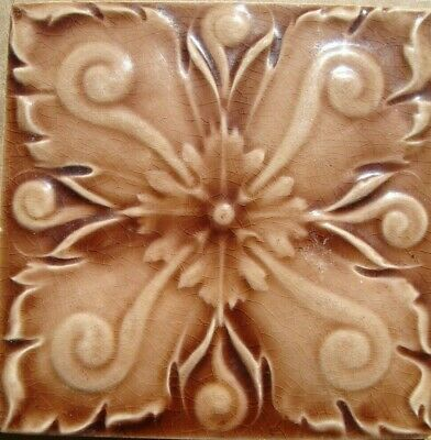 Relief Molded Original period antique tile 6x6 Art Nouveau Majolica Corn Bros.