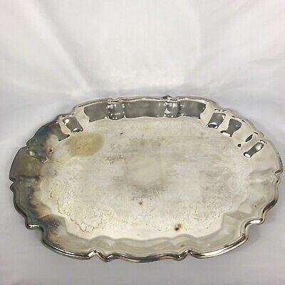 "Vintage Leonard Ep Silverplated 14.5"" Serving Vanity Tray"
