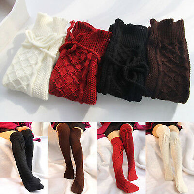 Women's Girls Over Knee High Knit Socks Long Plain Thick Thigh Stretch Stockings