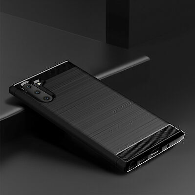 Fiber Case TPU Cover Carbon For Samsung Galaxy Note 10 Plus Slim Hybrid Matte