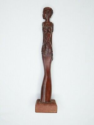 """Beautifully Hand-Carved Wood Statue of Slender Tall Woman By Artisan in Cabo 12"""""""