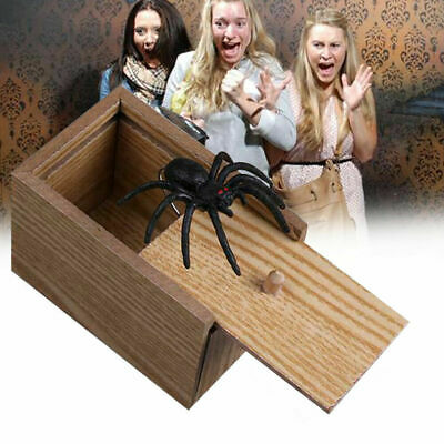 Funny Wooden Prank Spider Scare Box Hidden in Case Trick Play Joke Gag Toy Gifts