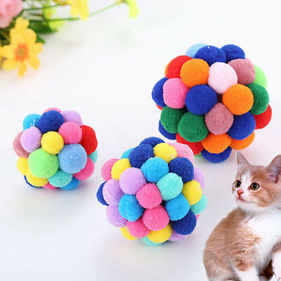 Pet Cat Colorful Handmade Bells Bouncy Ball Built-In Catnip Interactive Toy JT