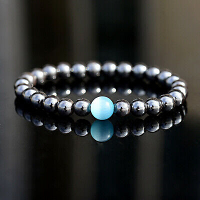 Unisex Therapeutic Energy Healing Hematite Bracelet Bangle Beads Women Men UK