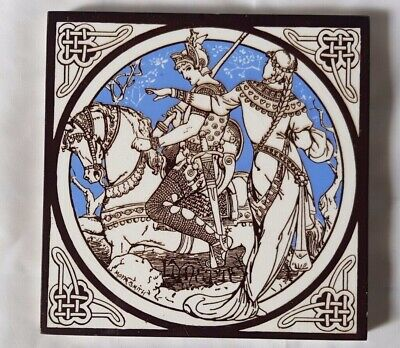 STUNNING MOYR SMITH MINTON lynette KNIGHT AND MAIDEN DESIGN 6 INCH TILE