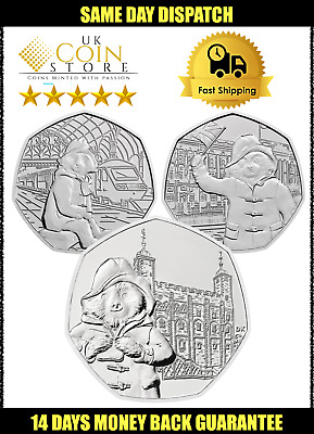 Paddington Bear 50p Fifty Pence coin Buckingham Palace - Station - Tower London