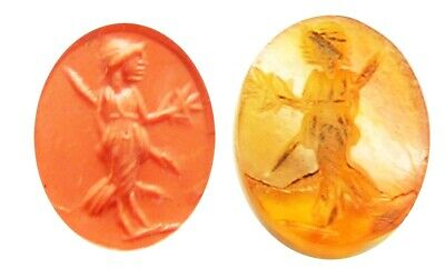 3rd century A.D. ancient Roman carnelian intaglio of Pax the goddess of peace