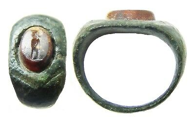 3rd century A.D. Roman Bronze & Carnelian Intaglio Ring of a Standing Figure