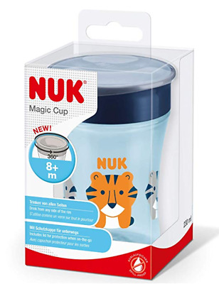 NUK Magic Cup Sippy Cup, 360° Anti-Spill Rim, BPA-Free, 8+ Months, 230ml, Tiger