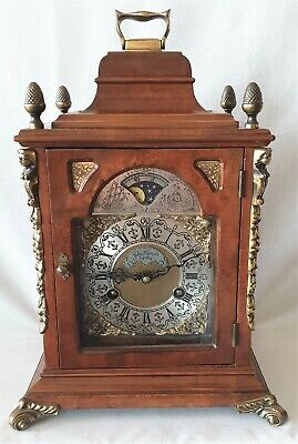 Warmink Mantel Clock Dutch Shelf Moonphase Bell Strike 8 Day Key Wind Silent