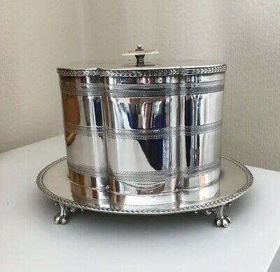 Antique Victorian Silver Plate Biscuit Barrel On Paw Feet