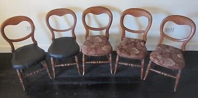 Five Antique Balloon Chairs (see details)