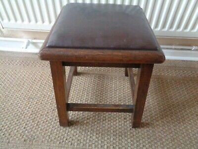 Small Vintage Wood And Leather Topped Seat / Footstool