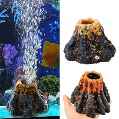 Aquarium Volcan Forme Air Bulle Stone Oxygène Pompe Fish Tank Ornement Décor FR