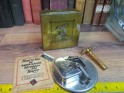 Vintage KRISS KROSS Automatic Razor Blade Sharpener STROP Stropper antique USA