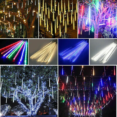 Meteor Shower Falling Rain Drop Icicle LED Fairy String Lights XMAS Garden Decor
