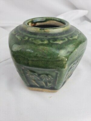 Nice old chinese glazed pottery, green, tea caddy