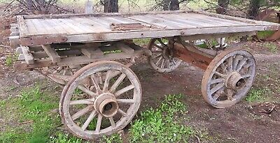 Antique wooden horse drawn dray buggy wagon
