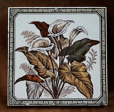 c1880 Victorian Aesthetic Movement Architectural Fireplace Tile. Arum Lilies