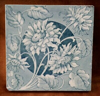 c1880 Victorian Aesthetic Movement Architectural Fireplace Tile. Green Flower