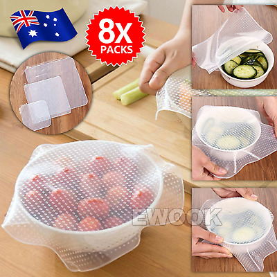 8 X Silicone Stretch Lids Food Fresh Wraps Seal Vacuum Cover Food Seal Container