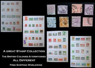 Stamp Collection British Colonies Lagos W. Australia Victoria NZ Jamaica Ceylon