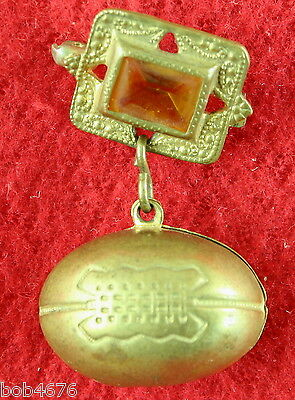 Antique Early 1900s Brass FOOTBALL C-Clasp Dangle Pin with Jewel Brooch - LOOK