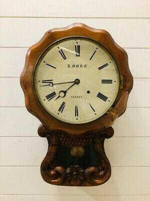 Antique Large Carved Wooden wall clock by J. More, Sussex (with key).