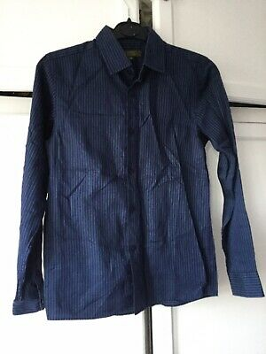 Great Condition Ted Baker Navy Blue And Green Striped Boys Shirt Age 13