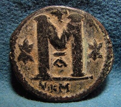 Justin I. 518-527AD. Æ RARE EX small mint mark, Nikomedia Follis.