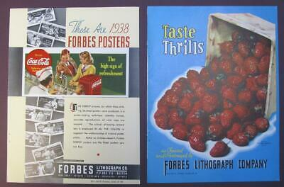 Original 1938 & 1939, Forbes Lithoraph Company Ads Double Sided 9x12 Coca Cola +