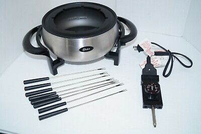 OSTER Electric Fondue Pot 8 Forks Stainless Steel Non-Stick FPSTFN7700 EUC