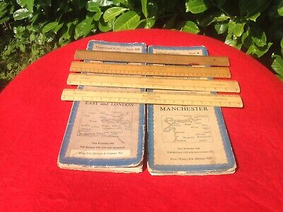 2 Vintage Ordnance Survey Maps And A Collection Of Vintage Wooden Rule / Rulers.
