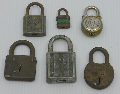 Vintage Mixed Lot Of 6 Padlocks, Locks, No Keys, Yale, Slaymaker, Walsco 9-9 ++