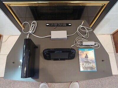 Nintendo Wii U 32GB Deluxe System Black Console Gamepad + Cords *TESTED* - Zelda