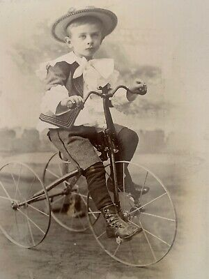 Child On Tricycle Bicycle Toy Antique Cabinet Card Photo cleveland Ohio