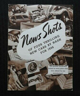 """""""News Shots Of Four Thrilling New Cars By Nash For 1938"""" Sales Brochure Nice 400"""