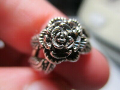 Sterling Silver 925 Estate Ott Vintage Blooming Rose Flower Band Ring Size 4.75