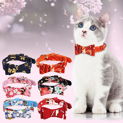 KQ_ DV_ CO_ Japanese Style Printed Bowknot Adjustable Faux Leather Cat Dog Pet N