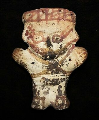 "Ancient Pre-Columbian Chancay Pottery Figure 7""h x 5""w x 2.5"" deep"