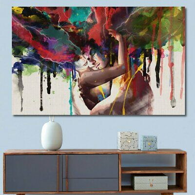 LARGE Canvas Print Room Wall Art Pictures Decor Abstract Couple Painting  UK