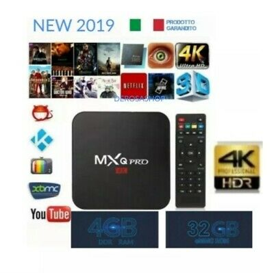 TV BOX ANDROID 8.1 IPTV 4K FULL HD 1080P 4GB RAM 32 Rom  WIFI MXQ PRO TASTIERA