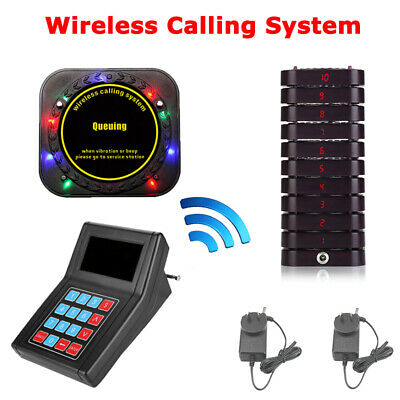 Restaurant Bakery Cafe Guest Paging Queuing System Transmitter+10 Coaster Pagers